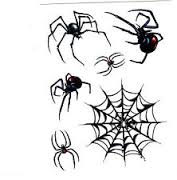 Black Spider And Spiderweb Tattoo Designs
