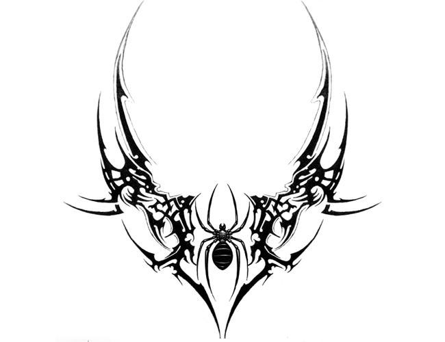 Black Spider And Tribal Tattoo Sticker