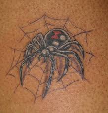 Black Widow Spider On Web Tattoo