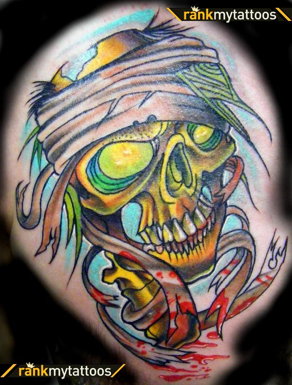 Bleeding Mummy Skull Tattoo Image