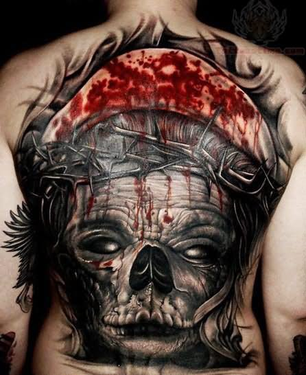 Bleeding Skull With Crown Of Thorns Tattoo On Back