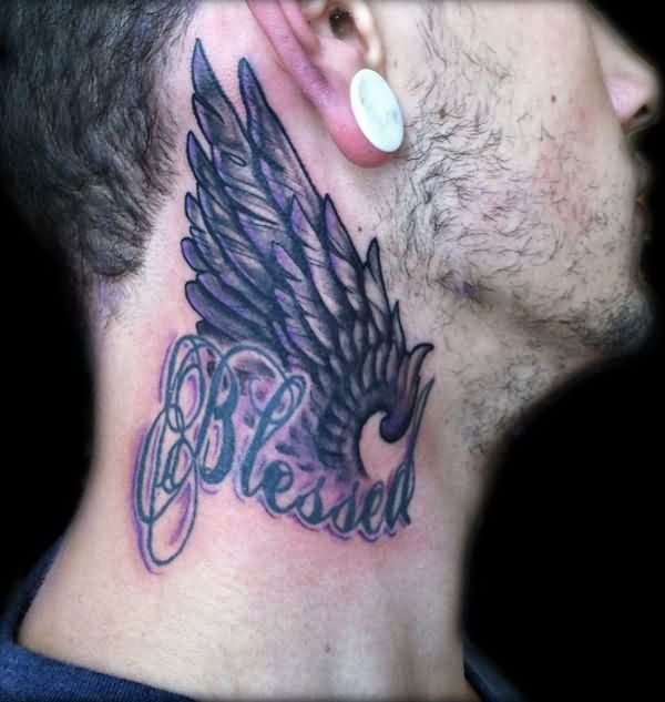 Blessed Wing Side Neck Tattoo For Men