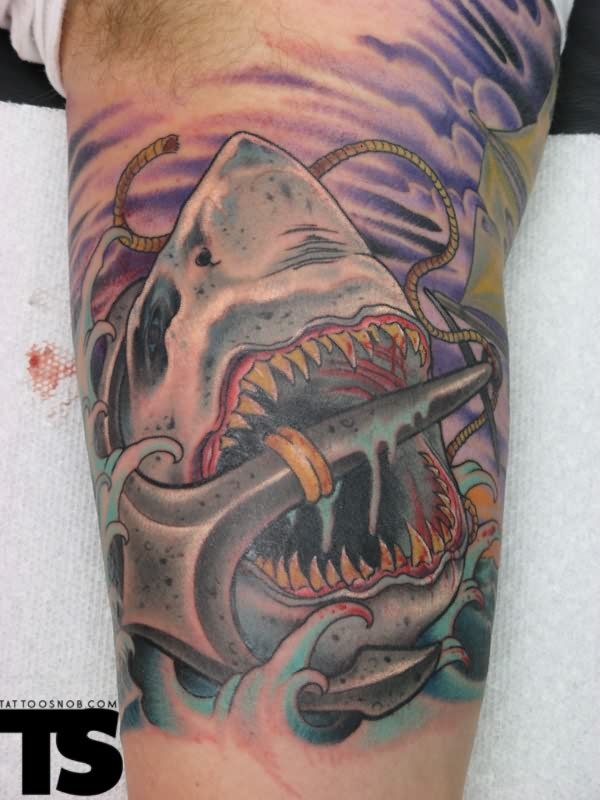 Bloody Giant Shark And Anchor Ocean Tattoos