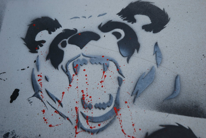 Bloody Screaming Panda Tattoo Sketch