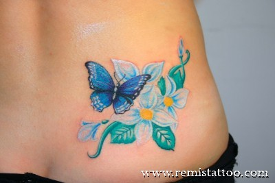 Blue Butterfly With Flower Tattoo On Stomach