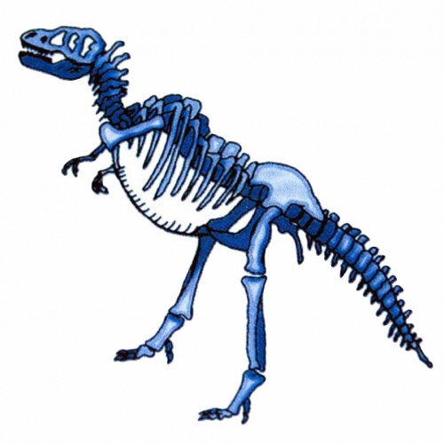 Blue Dinosaur Skeleton Tattoo Stencil