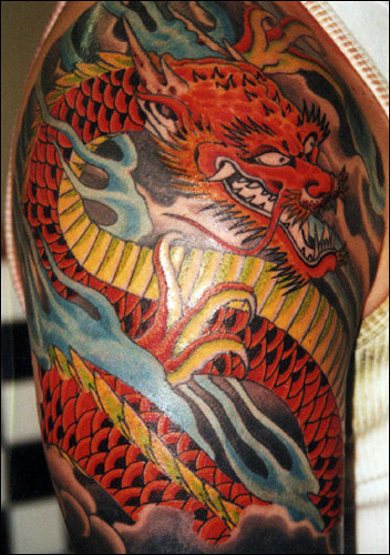 Blue Flames And Red Dragon Sleeve Tattoos