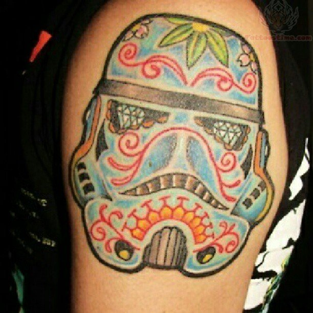 Blue Gas Mask Sugar Skull Tattoo On Shoulder