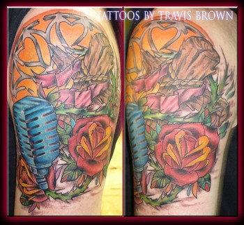 Blue Mic Roses And Mic Half Sleeve Tattoos