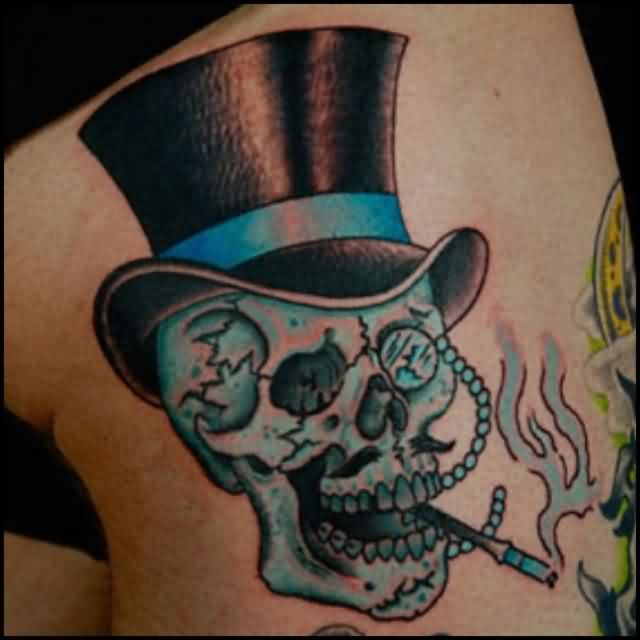 Blue Smoking Skull Tattoo