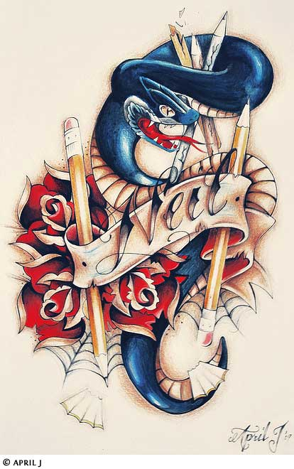 Blue Snake Pencils And Roses Tattoo Design