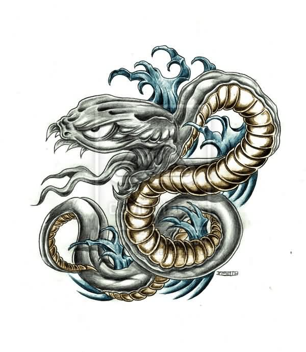 Blue Waves And Snake Tattoo Design