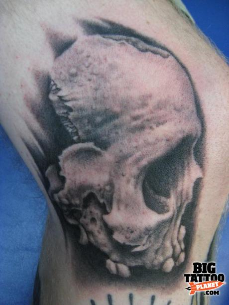 Bob Tyrrell Skull Tattoo ON Knee
