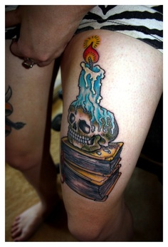 Book Skull Candle Tattoo On Thigh
