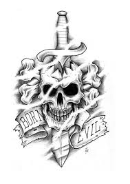 Born Evil Dagger Through Skull Tattoo Design