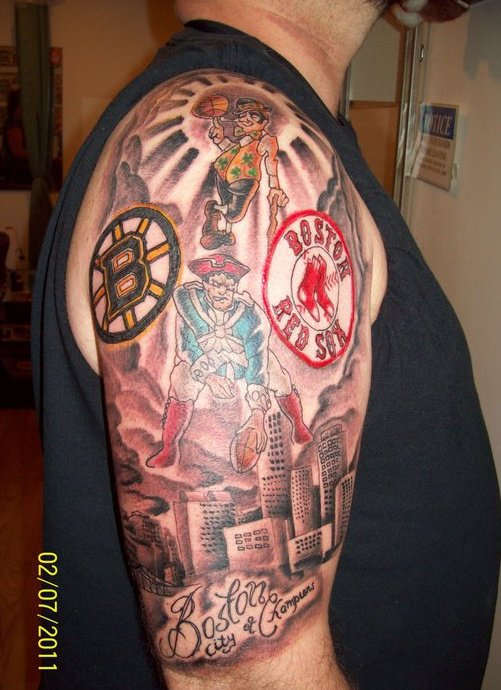 Boston City Of Champions Half Sleeve Tattoo