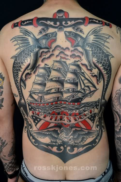 Bottles Down Ship Anchor And Eagle Tattoos On Back