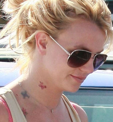 Britney Spears With Sunglasses And Neck Tattoos
