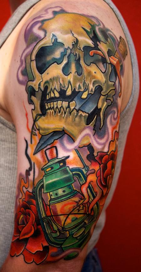 Broken Skull And Lantern Tattoos On Half Sleeve