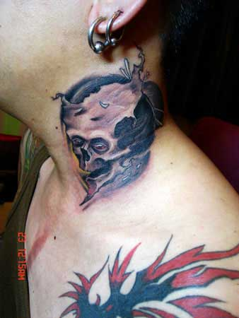 Broken Wicked Skull Neck Tattoo