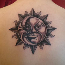 Brown Sun And Moon Tattoos On Upper Back