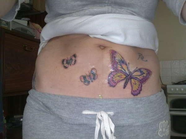 Butterflies Tattoos On Stomach