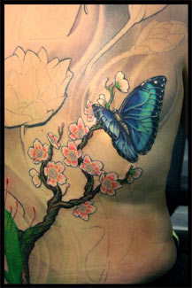 Butterfly And Orchid Tattoos Photo