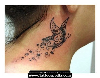 Butterfly And Star Side Neck Tattoos