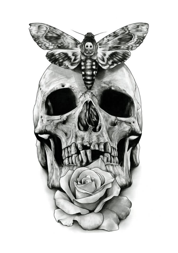 Butterfly Skull And Rose Tattoo Stencil