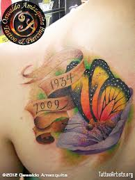 Butterfly With Flower - Shoulder Tattoos