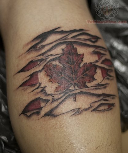 Canadian Ripped Skin Muscles Tattoo