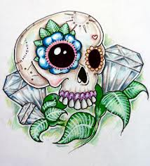 Candy Skull Diamonds And Green Leaves Tattoo Designs