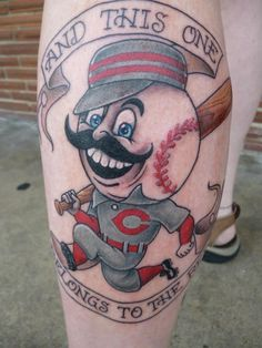 Cartoon Baseball Tattoo