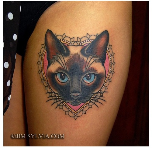 Cat Frame Tattoo For Thigh