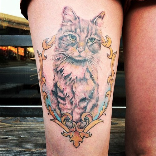Cat Tattoo On Thigh