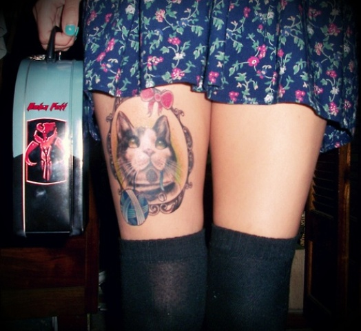 Cat Tattoos On Right Thigh