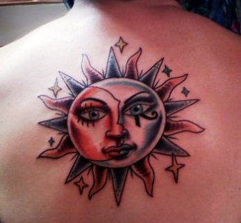 Celestial Moon Tattoo For Back