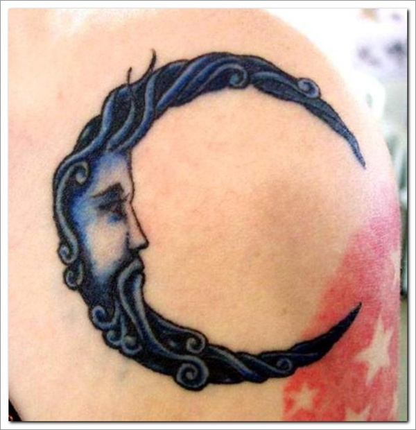 Celestial Moon Tattoo On Shoulder