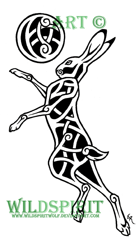 Celtic Moon And Hare Tattoo Designs