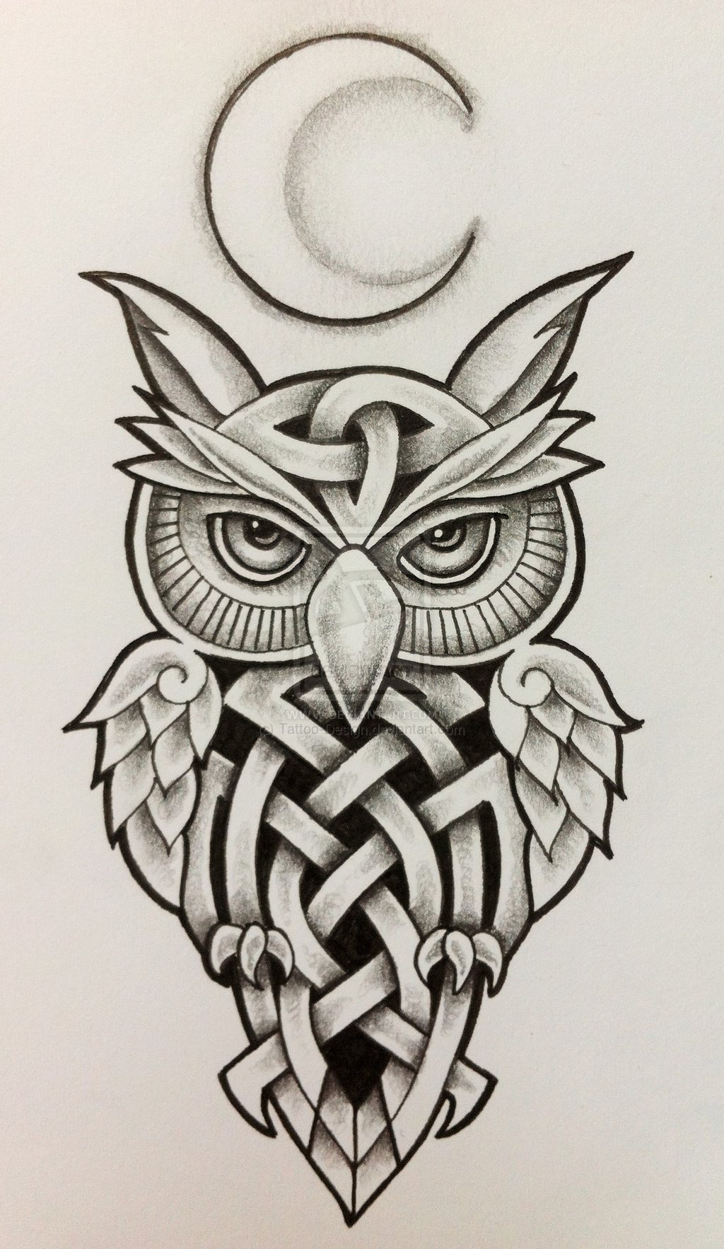 Celtic Owl And Moon Tattoo Design