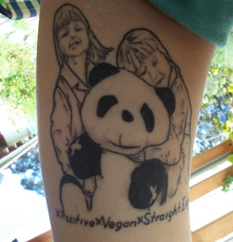 Childrens With Panda Tattoo