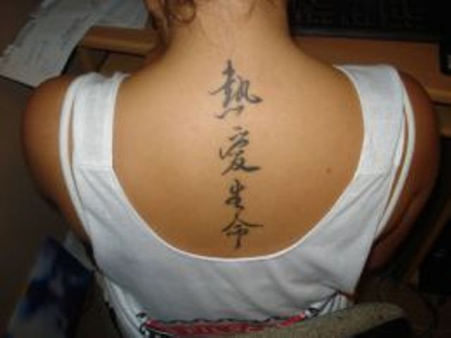 Chinese Characters Back Neck Tattoos