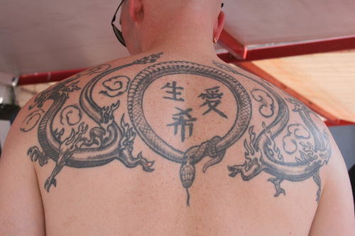 Chinese Dragon And Snake Tattoos On Upperback