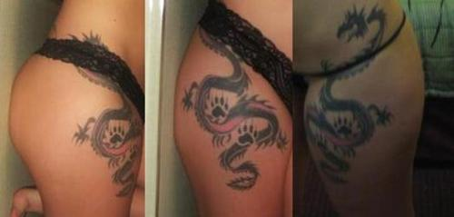 Chinese Dragon Thigh Tattoos