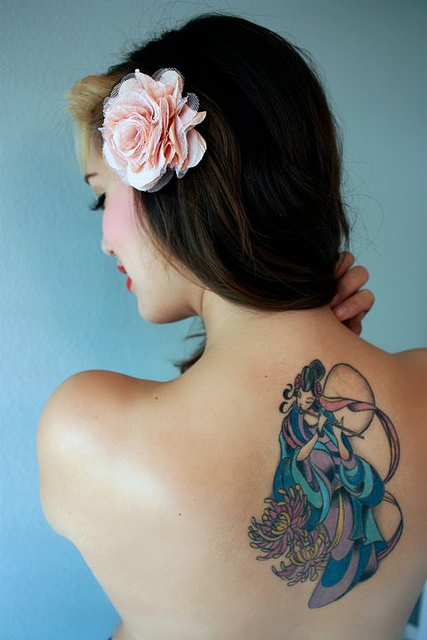 Chinese Goddess Of The Moon Tattoo On Upper Back