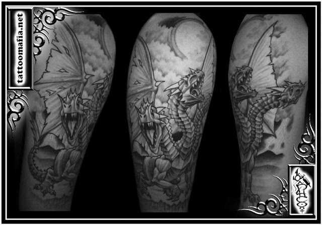 Chinese Winged Dragon Half Sleeve Tattoo