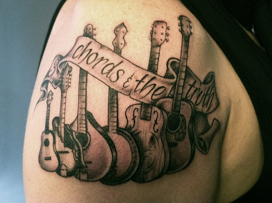 Chords The Truth Music Tattoo On Shoulder