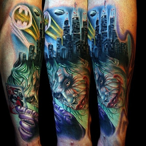 City Towers And Joker Sleeve Tattoos