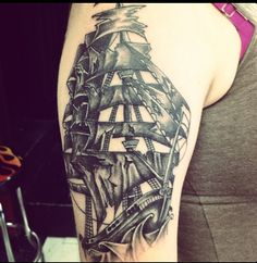 Classic Grey Ink Ship Tattoo On Arm