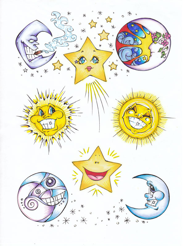 Classic Sun And Moon Tattoo Designs